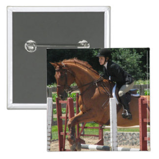 Horse Jumping Square Pin