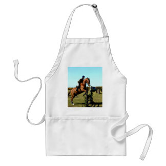 horse jumping to goal overcome difficulty adult apron
