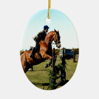 horse jumping to goal overcome difficulty ceramic ornament