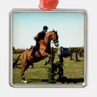 horse jumping to goal overcome difficulty metal ornament