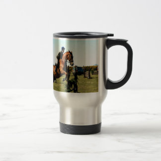 horse jumping to goal overcome difficulty travel mug