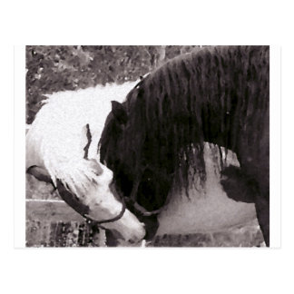 Horse Kiss Painting Customizable Postcard