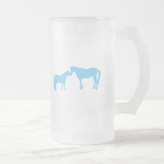 Horse Kisses (Aqua) Frosted Glass Beer Mug
