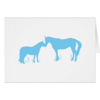 Horse Kisses (Aqua) Greeting Card