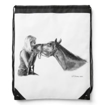 Horse Kisses Artwork Drawstring Bag