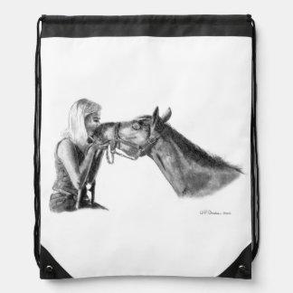 Horse Kisses Artwork Drawstring Bag