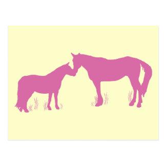 Horse Kisses (Dk. Pink) Postcard