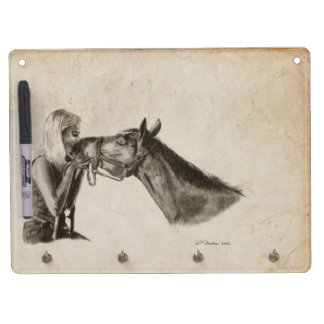 Horse Kisses Dry Erase Board With Keychain Holder