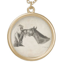 Horse Kisses Gold Finish Necklace