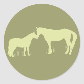 Horse Kisses (Green) Classic Round Sticker