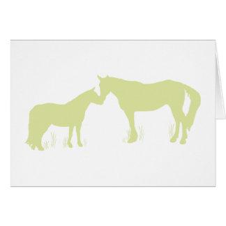 Horse Kisses (Green) Greeting Card