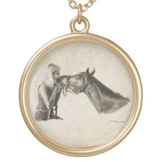 Horse Kisses Round Pendant Necklace