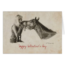 Horse Kisses Valentines Day Card