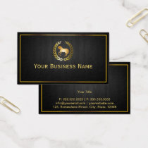 Horse Laurel Wreath Gold Logo Business Card