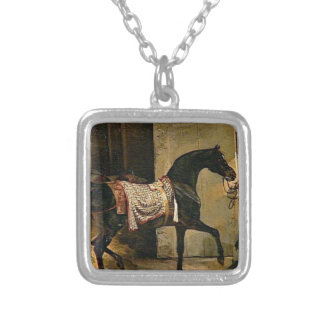Horse leaving a Stable by Theodore Gericault Square Pendant Necklace