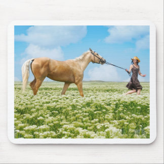 Horse Led By Girl Mouse Pad