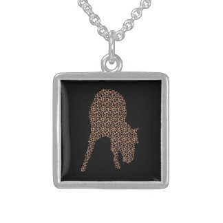 Horse Leopard On Black Silhouette Necklace