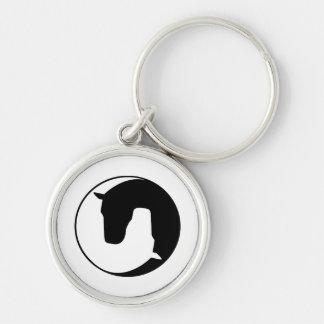 horse llavero redondo plateado