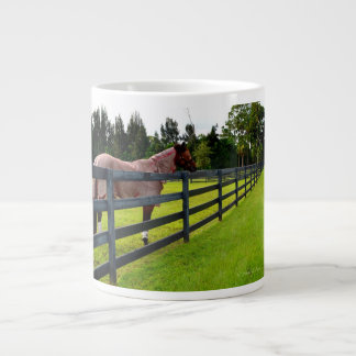 Horse looking down fence path 20 oz large ceramic coffee mug