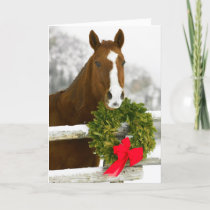 Horse looking over fence holiday card