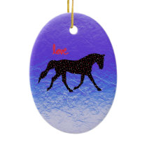 Horse, Love and Hearts Ceramic Ornament