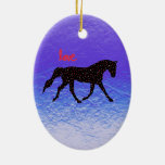 Horse, Love and Hearts Ornaments