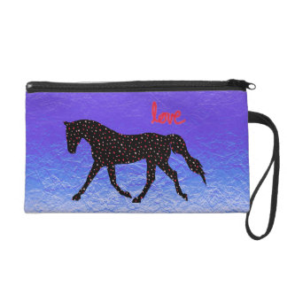 Horse, Love and Hearts Wristlet Purse