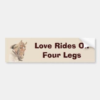 Horse Love Rides On Four Legs Bumper Sticker