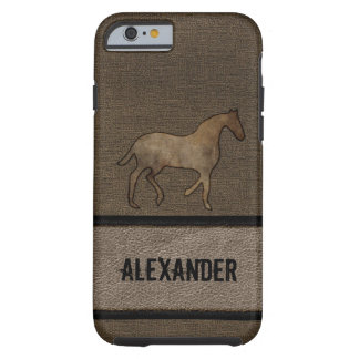 Horse Lover Leather Looking Masculine Brown iPhone 6 Case