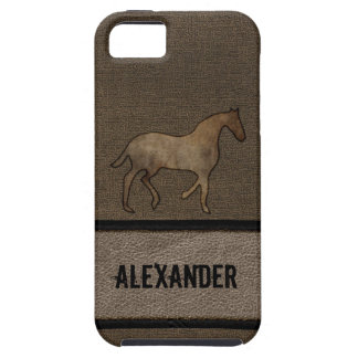 Horse Lover Leather Looking Print Masculine Brown iPhone 5 Cover
