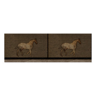 Horse Lover Leather Masculine Brown Rugged Art Double-Sided Mini Business Cards (Pack Of 20)