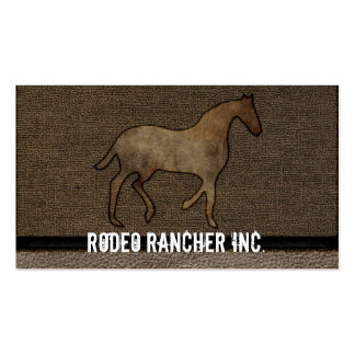 Horse Lover Leather Masculine Brown Rugged Art Double-Sided Standard Business Cards (Pack Of 100)