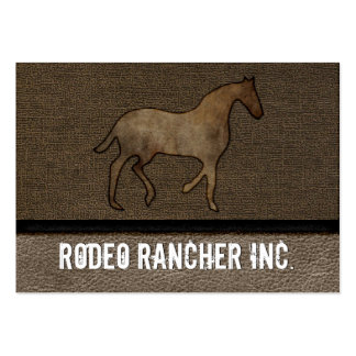 Horse Lover Leather Masculine Brown Rugged Art Large Business Cards (Pack Of 100)
