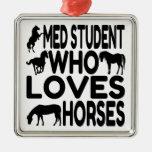 Horse Lover Med Student Metal Ornament