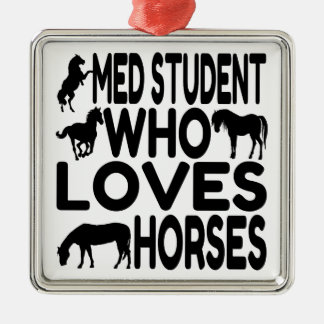 Horse Lover Med Student Metal Ornament