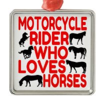 Horse Lover Motorcycle Rider Metal Ornament