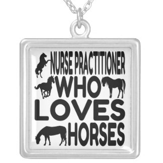 Horse Lover Nurse Practitioner Square Pendant Necklace