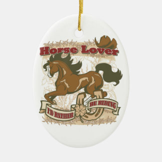 Horse Lover Double-Sided Oval Ceramic Christmas Ornament