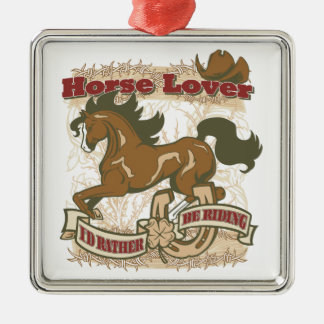 Horse Lover Square Metal Christmas Ornament