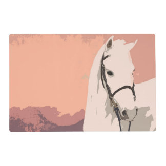 Horse Lover Pink Pony Head Laminated Placemat