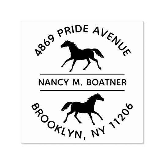Love Horse Personalized Custom RETURN ADDRESS Self Inking Rubber Stamp E-76185