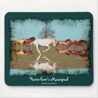 Horse-lover Running Mustangs Art Mousepad