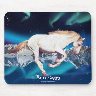 Horse-lover White Mustang & Aurora Art Mousepad