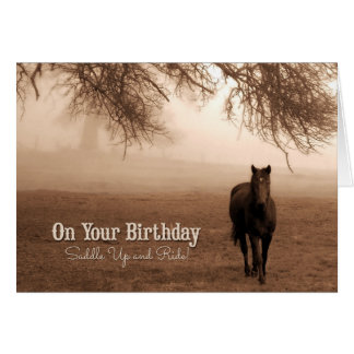 Horse Lover's Birthday - Sepia Toned Card