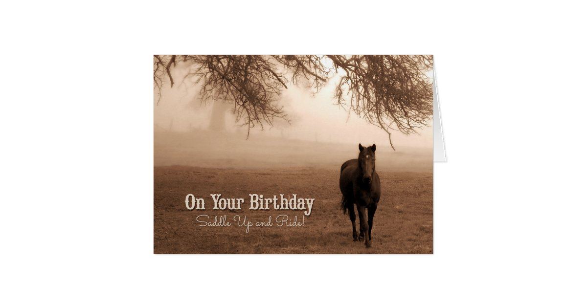 Horse Lover S Birthday Sepia Toned Card Zazzle Com