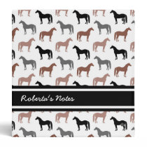 Horse Lover's Pattern 3 Ring Binder