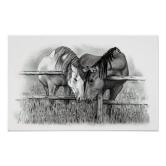 HORSE LOVERS PENCIL ART POSTER