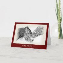 Horse Lovers Valentine, Wanna Horse Around, Pencil Holiday Card