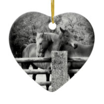 Horse Lovers Wedding or Anniversary Heart Ceramic Ornament