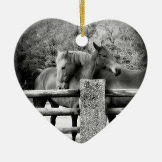 Horse Lovers Wedding or Anniversary Heart Double-Sided Heart Ceramic Christmas Ornament